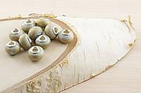 Бусина пандора стекло с золотыми полосками (16х12мм)(товар при заказе от 500грн)