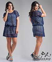 Кружевное тёмно синее платье с белой трикотажной подкладкой, батал. Арт-5632/21