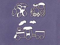 Чипборд набор от студии Про Свет — Детские паровозики, 5 элементов