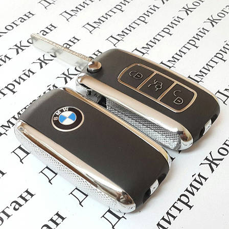 Выкидной ключ для BMW (БМВ) 3 кнопки, лезвие HU92, чип ID44, 433 MHZ, фото 2