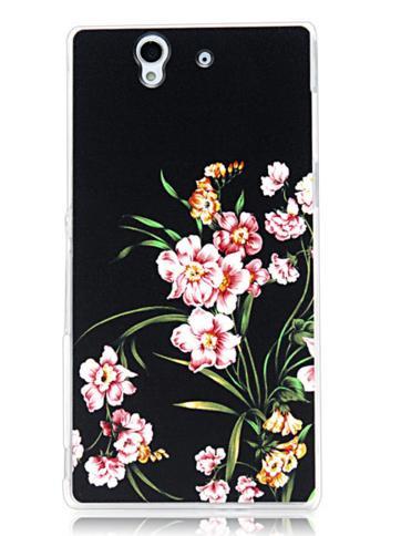 Силиконовый чехол бампер для Sony Xperia Z / c6602 / L36h с картинкой цветы на черном фоне