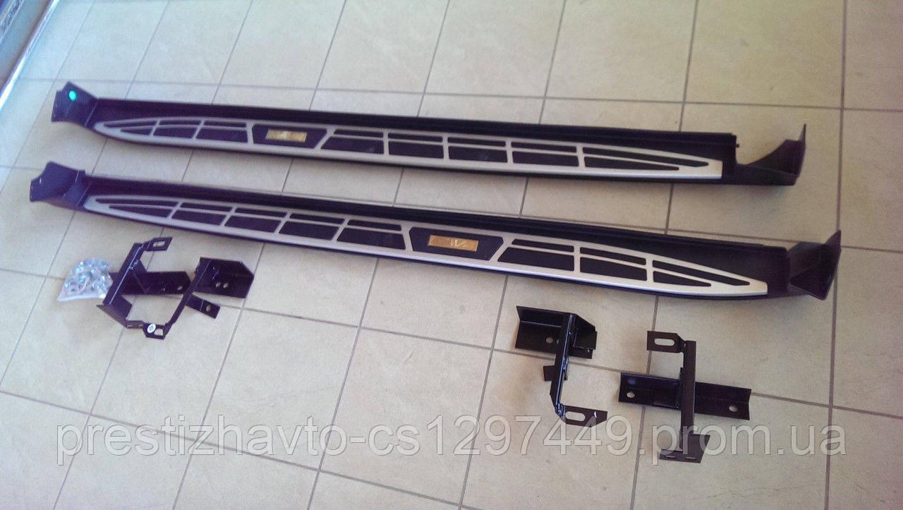 Пороги боковые на Toyota RAV4 - Cayenne style (2013-...)