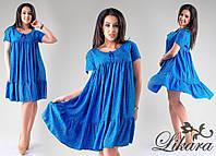 Летнее синее свободное платье с мелким орнаментом, батальное. Арт-5637/21