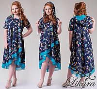 Асимметричное тёмно синее платье с плотного шифона с орнаментом и капюшоном, батальное. Арт-5639/21