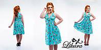 Летнее бирюзовое платье стрейч-шифон с принтом, батал. Арт-5640/21