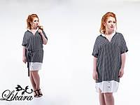 Модное чёрное платье рубашка с мелким орнаментом и белыми вставками, батал. Арт-5641/21
