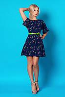 Женское стильное летнее платье из шифона с тёмно-синим принтом (серия 2016 лето, разные цвета)