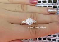 Нежное серебряное кольцо с цветочком
