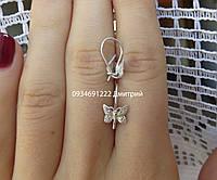 Серебряные серьги Бабочки на петельке