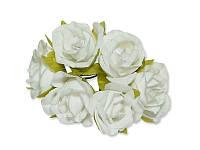 Декоративный букетик - Розочки белые, размер 2,5 см, 3 шт