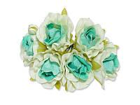 Декоративный букетик - Розочки белый + бирюзовый, размер 2,5 см, 3 шт