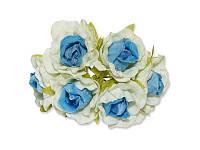 Декоративный букетик - Розочки белый + голубой, размер 2,5 см, 3 шт
