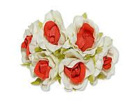 Декоративный букетик - Розочки белый + красный, размер 2,5 см, 3 шт