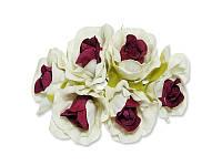 Декоративный букетик - Розочки белый + марсала, размер 2,5 см, 3 шт