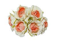 Декоративный букетик - Розочки белый + персиковый, размер 2,5 см, 3 шт