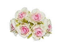 Декоративный букетик - Розочки белый + розовый, размер 2,5 см, 3 шт