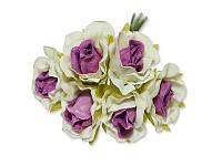 Декоративный букетик - Розочки белый + сиреневый, размер 2,5 см, 3 шт