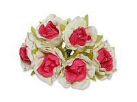 Декоративный букетик - Розочки белый + ярко-розовый, размер 2,5 см, 3 шт