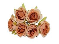 Декоративный букетик - Розочки красно-коричневые, размер 2,5 см, 3 шт