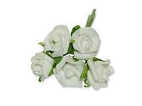 Декоративный букетик - Розочки кудрявые ФОМ белые, размер 2 см, 5 шт