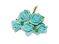 Декоративный букетик - Розочки кудрявые ФОМ голубые, размер 2 см, 5 шт