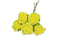Декоративный букетик - Розочки кудрявые ФОМ желтые, размер 2 см, 5 шт
