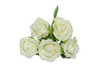 Декоративный букетик - Розочки кудрявые ФОМ кремовые, размер 2 см, 5 шт