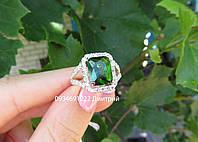 Серебряное кольцо с прямоугольным камнем, фото 1