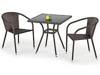 Стол садовый стеклянный MOBIL темно-коричневый/черный Halmar
