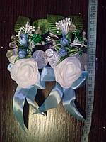 Свадебная бутоньерка № ДМ-03 (голубая)
