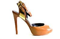 Босоножки женские Carlabei  коричневые из натуральной кожи на каблуке,женские босоножки