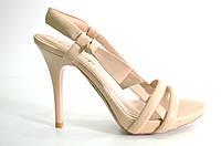 Босоножки женские Canna бежевые из натуральной кожи на каблуке,женские босоножки