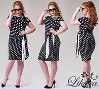 Чёрное стильное платье в белый горох короткий рукав, батальное. Арт-5642/21