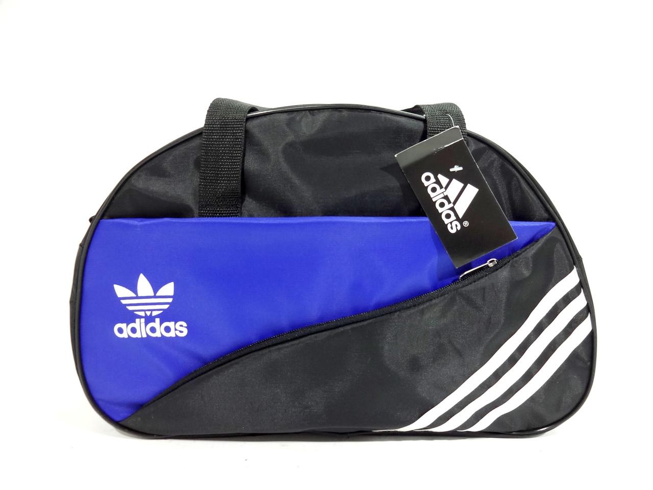 Спортивная черная с синим сумка Adidas (Адидас) с длинным ремнем. Недорого реплика