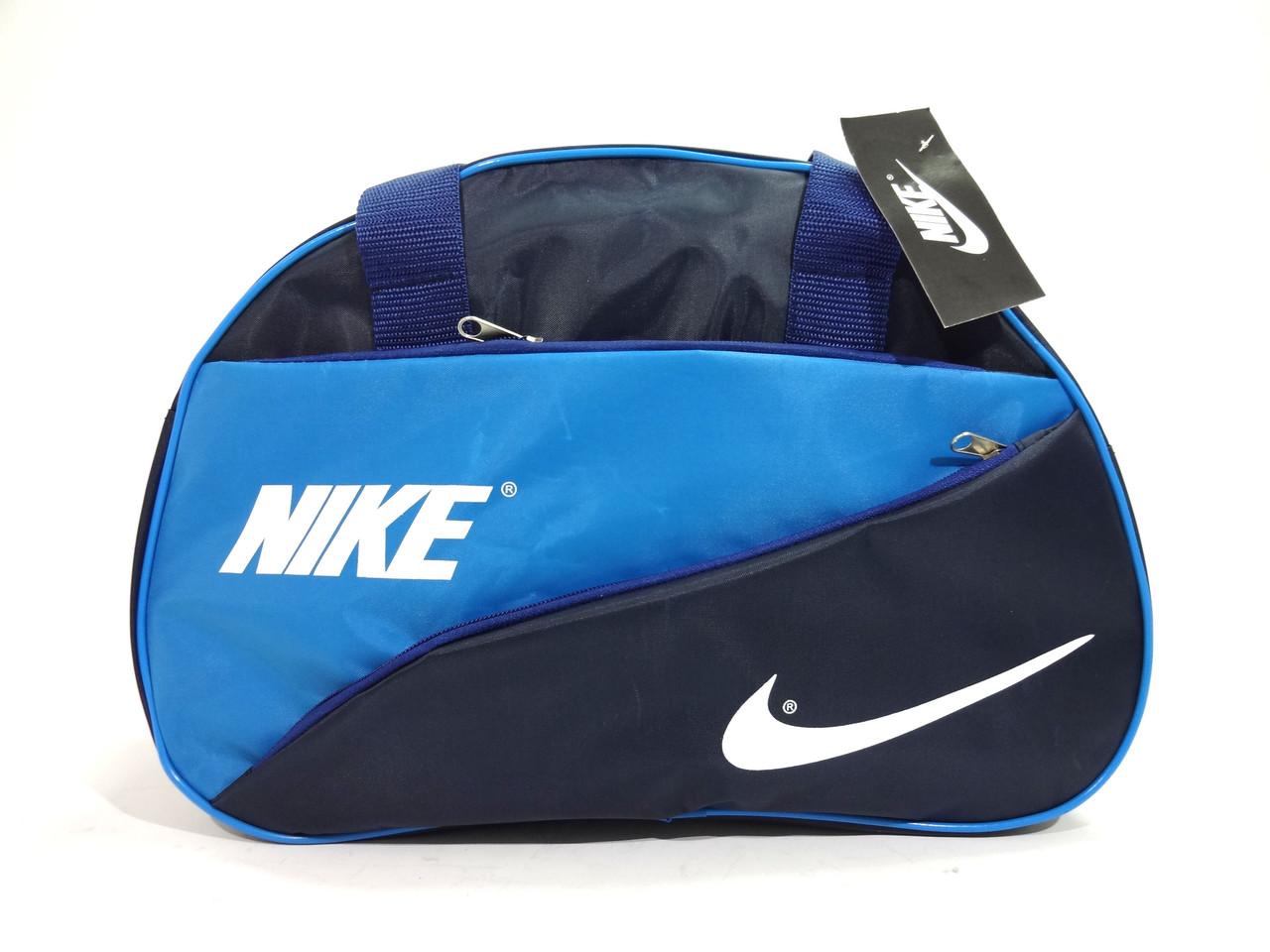 Спортивная черная с голубым сумка Nike (Найк) с длинным ремнем. Недорого реплика