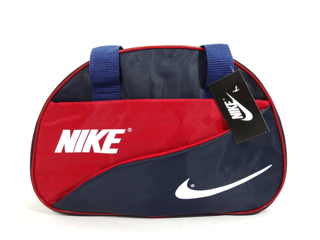 Спортивная синяя с красным сумка Nike (Найк) с длинным ремнем. Недорого реплика