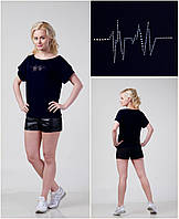 Женская Футболка - Хулиганка, стразы - кардиограмма, фото 1