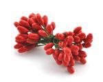 Тычинки на проволоке красные большие (головка ок. 5 мм), упаковка 20 шт. (10 двухсторонних проволочек по 6 см)
