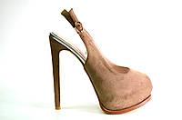 Босоножки женские Gaterinna коричневые замшевые на каблуке,женские босоножки