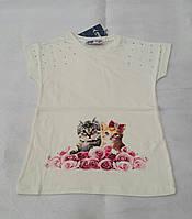 Нарядная футболка для девочек 116,128,134 роста Влюбленная парочка