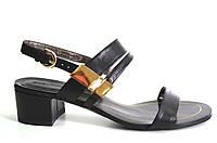 Босоножки женские Basconi черные из натуральной кожи на каблуке,женские босоножки