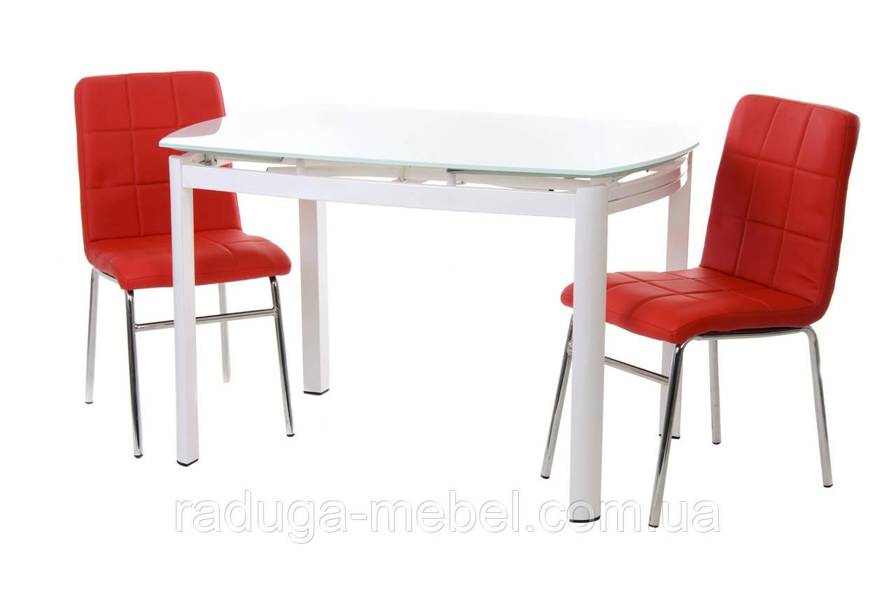 Стол кухонный обеденный стеклянный белый Т-600