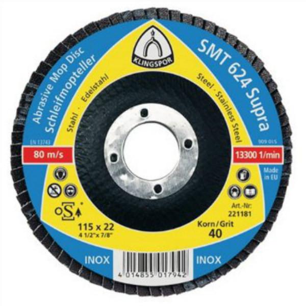 Лепестковый тарельчатый круг Klingspor SMT 624 125X22,23 P80 прямой