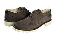 """Мужские туфли модельные из замши модель """"оксфорд"""" faro 0801.36 серые   весенние"""