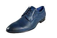 Мужские туфли модельные из натуральной кожи на шнуровке faro 3900.85.8 синие   весенние