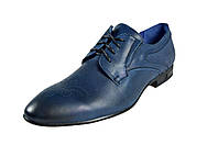 Мужские туфли модельные из натуральной кожи на шнуровке faro 3900.85.8 синие   весенние , фото 1