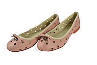 Женские балетки кожаные mida 23549персик розовые   летние , фото 1