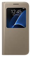 Чехол оригинальный для Samsung Galaxy S7 G930 - Samsung S View Cover, золотистый (EF-CG930PBEGRU)