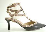 Босоножки женские Valentino из натуральной кожи на каблуке, женские босоножки