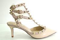 Босоножки женские Valentino бежевые из натуральной кожи на каблуке,женские босоножки